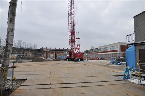 江別第一中学校校舎建て替え工事中の現場