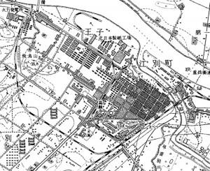 1950年 江別駅周辺古地図