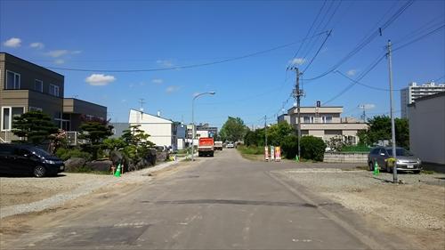 白樺通から見た野幌駅南通り