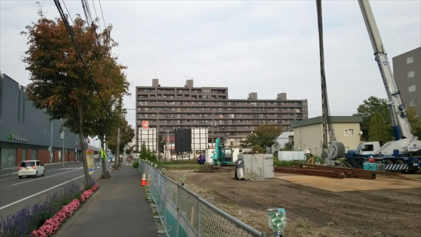 野幌駅南口駅前ロータリー工事中