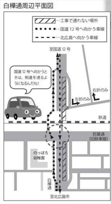 白樺通アンダーパス工事地図