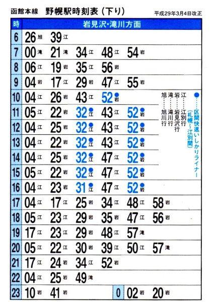 JR野幌駅時刻表・下り(2017年3月改定)