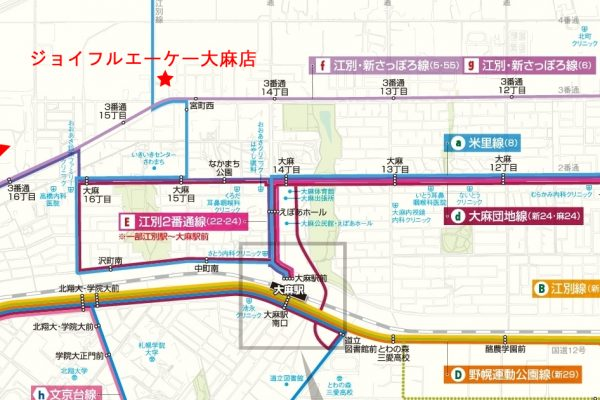 大麻駅周辺バス路線マップ