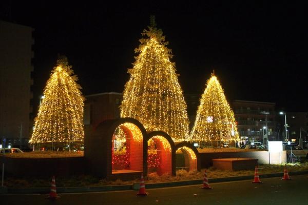 野幌駅前ライトアップ開始