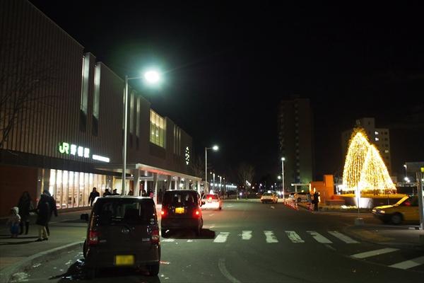 ライトアップ後の野幌駅前ロータリー