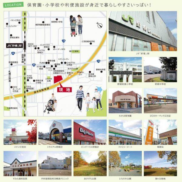 グリーンタウン野幌若葉町周辺地図