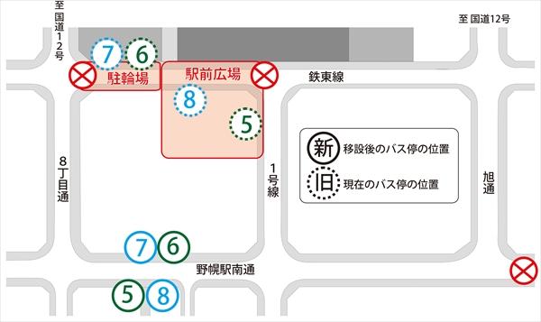 野幌駅南口バス停移設位置