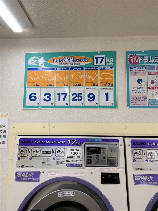 17キロ洗濯量の目安