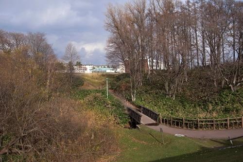 小川を越える橋と階段
