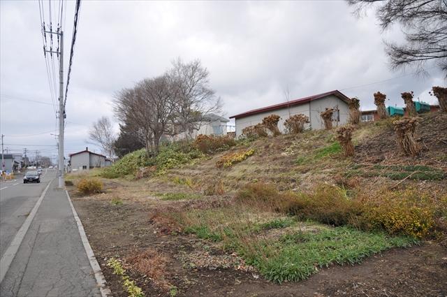 旧江別小学校横の廃線跡