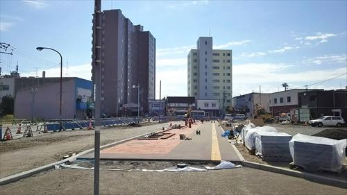 鉄西線道路・歩道の工事