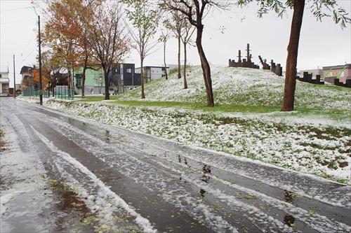 道路の初雪