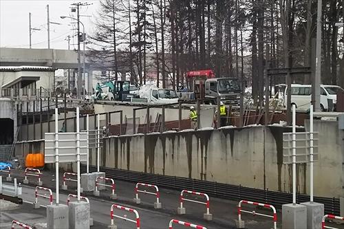 白樺通アンダーパス・解体作業中