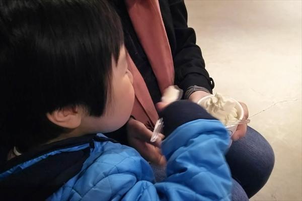 ソフトクリームを食べる子供