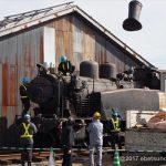 SLの煙突付け作業