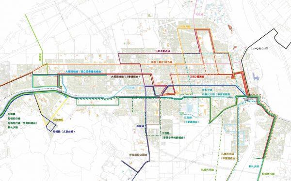 江別市内路線バス・改変前ルートマップ