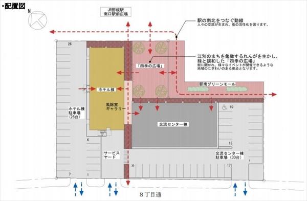 野幌駅南口・ホテル・交流センター配置図