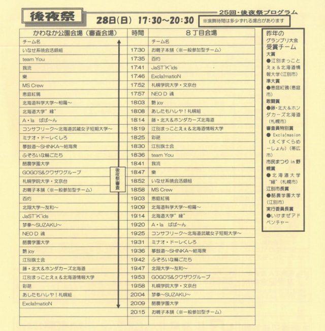 YOSAKOIソーラン出場チーム一覧表