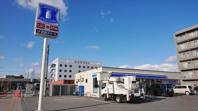 ローソン野幌駅南口店とホテルリボーン野幌