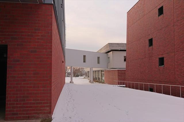 北海道立文書館と道立図書館を結ぶ通路