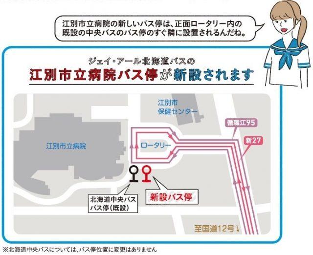 江別市立病院バス停新設