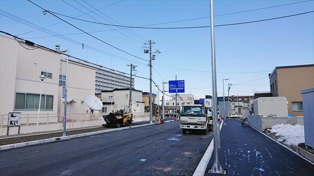 野幌駅南通・歩道舗装工事中