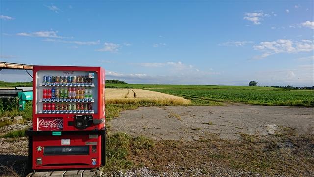 畑と自動販売機