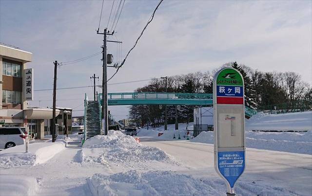 萩ヶ岡バス停と江別横断歩道橋