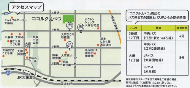 ココルク江別の場所アクセス地図