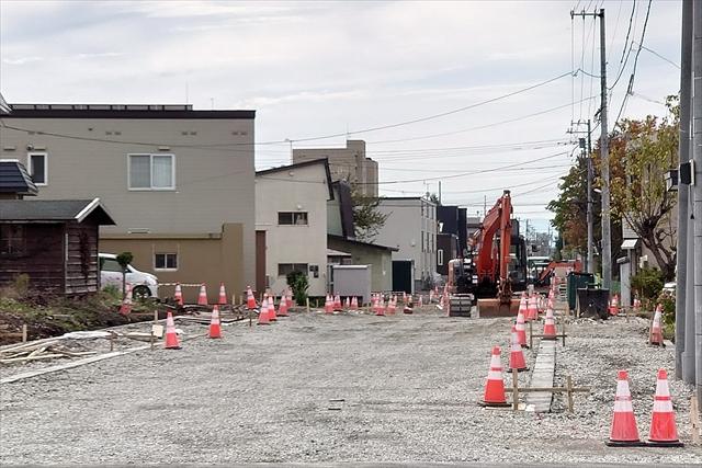 元江別66号道路整備工事中